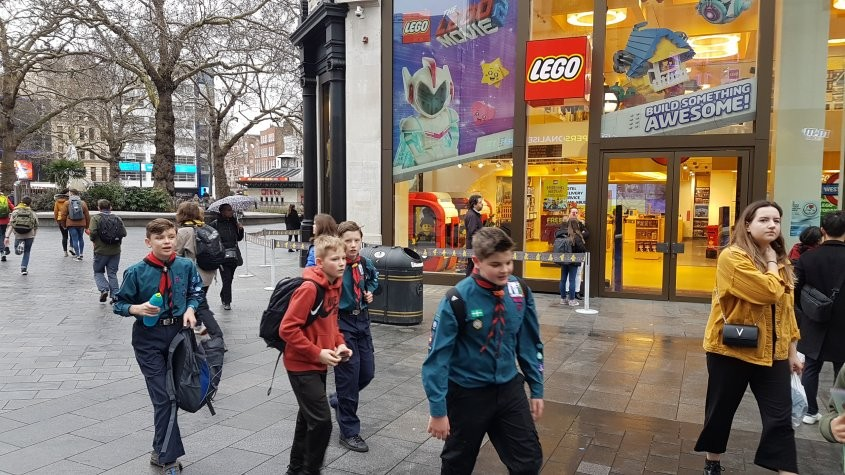 Scouts outside the lego shop