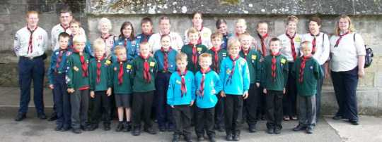 Beavers, Cubs & Scouts outside Exeter Cathedral